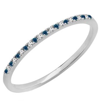 Trang sức Dazzling Rock Nữ Vàng trắng 14K 0.08 Ct Blue/Kim cương trắng Stackable Nhẫn Size 7.5 chính hãng sale giá rẻ Hà nội TPHCM