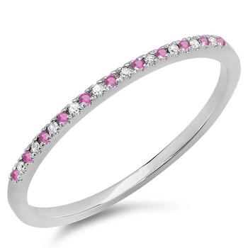 Trang sức Dazzling Rock Nữ Vàng trắng 18K 0.04 Ct Round Cut Pink Sapphire và Kim cương Stackable Nhẫn Size 7.5 chính hãng sale giá rẻ Hà nội TPHCM