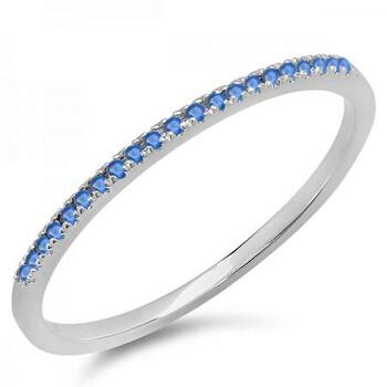 Trang sức Dazzling Rock Nữ Vàng trắng 14K 0.08 Ct Blue Sapphire Stackable Nhẫn Size 6 chính hãng sale giá rẻ Hà nội TPHCM