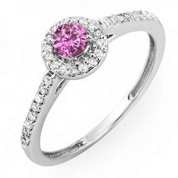 Trang sức Dazzling Rock Nữ Vàng trắng 14K 0.2 Ct Pink Sapphire và Kim cương Halo Nhẫn Size 5.5 chính hãng sale giá rẻ Hà nội TPHCM