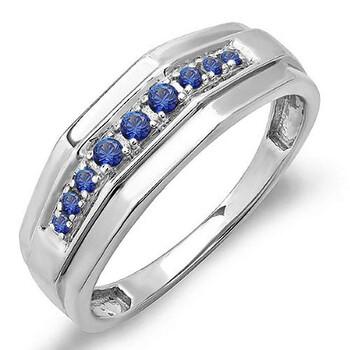 Trang sức Dazzling Rock Nam 925-sterling Bạc 925 0.25 Ct Round Cut Blue Sapphire 1 Band Nhẫn Size 11 chính hãng sale giá rẻ Hà nội TPHCM