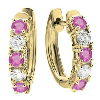 Trang sức Dazzling Rock Dazzlingrock Collection 14K Round Pink Sapphire & Kim cương trắng Nữ Huggies Hoop Bông tai (khuyên tai