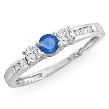 Trang sức Dazzling Rock Nữ Vàng trắng 18K 0.1 Ct Blue Sapphire và Kim cương 3 Stone Nhẫn Size 8 chính hãng sale giá rẻ Hà nội TPHCM