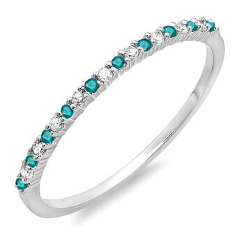 Trang sức Dazzling Rock Nữ Vàng trắng 14K 0.15 Ct Blue/Kim cương trắng Stackable Nhẫn Size 7 chính hãng sale giá rẻ Hà nội TPHCM