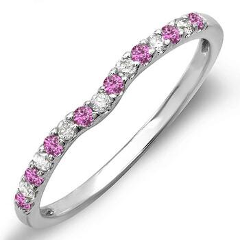Trang sức Dazzling Rock Nữ Vàng trắng 10K 0.13 Ct Round Cut Pink Sapphire và Kim cương Anniversary Nhẫn Size 5.5 chính hãng sale giá rẻ Hà nội TPHCM