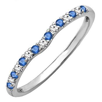 Trang sức Dazzling Rock Nữ Vàng trắng 10K 0.13 Ct Round Cut Blue Sapphire và Kim cương Anniversary Nhẫn Size 6.5 chính hãng sale giá rẻ Hà nội TPHCM