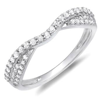 Trang sức Dazzling Rock Nữ Vàng trắng 10K 0.36 Ct Kim cương trắng Stackable Nhẫn Size 8 chính hãng sale giá rẻ Hà nội TPHCM