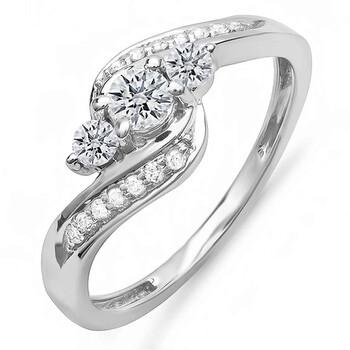 Trang sức Dazzling Rock Nữ Vàng trắng 10K 0.50 Ct Kim cương trắng 3 Stone Nhẫn Size 6 chính hãng sale giá rẻ Hà nội TPHCM
