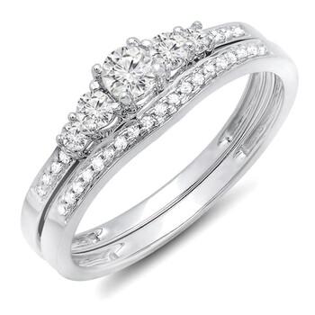 Trang sức Dazzling Rock Nữ Vàng trắng 10K 0.45 Ct Kim cương trắng Wedding Set Nhẫn Size 6 chính hãng sale giá rẻ Hà nội TPHCM