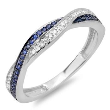 Trang sức Dazzling Rock Nữ Vàng trắng 18K 0.12 Ct Kim cương trắng và Blue Sapphire Anniversary Nhẫn Size 9 chính hãng sale giá rẻ Hà nội TPHCM