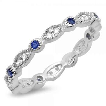 trang sức Dazzling Rock Nữ Vàng trắng 10K 0.15 Ct Kim cương trắng và Blue Sapphire Eternity Nhẫn Size 4.5 chính hãng sale giá rẻ tại Hà nội TPHCM