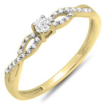 Trang sức Dazzling Rock Nữ Vàng 18K 0.2 Ct Kim cương trắng Promise Nhẫn Size 6 chính hãng sale giá rẻ Hà nội TPHCM