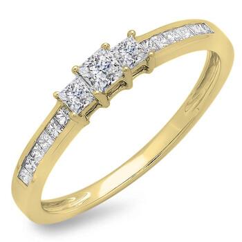 Trang sức Dazzling Rock Nữ Vàng 18K 0.45 Ct Kim cương trắng Nhẫn đính hôn Size 7 chính hãng sale giá rẻ Hà nội TPHCM