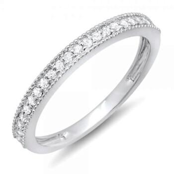 Trang sức Dazzling Rock Nữ Vàng trắng 10K 0.23 Ct Kim cương trắng Nhẫn cưới Size 7 chính hãng sale giá rẻ Hà nội TPHCM