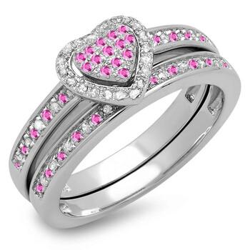Trang sức Dazzling Rock Dazzlingrock Collection 10K Round Pink Sapphire & Kim cương trắng Nữ Bridal Nhẫn đính hôn Set