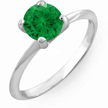 Trang sức Dazzling Rock Dazzlingrock Collection 1.00 Carat (ctw) 14K Round Green Emerald Bridal Engagement Solitaire Nhẫn 1 CT