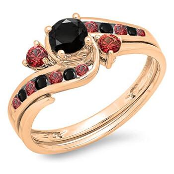 Trang sức Dazzling Rock Dazzlingrock Collection 10K Round Kim cương đen & Red Ruby Nữ Swirl Bridal Nhẫn đính hôn Band Set