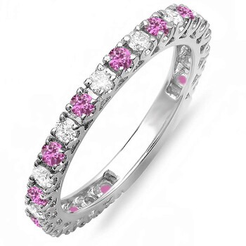 Trang sức Dazzling Rock Dazzlingrock Collection 10K Round Pink Sapphire & Kim cương trắng Eternity Sizeable Stackable Wedding Band