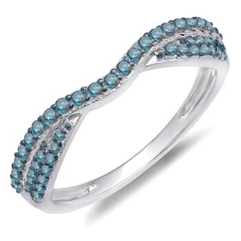 Trang sức Dazzling Rock Dazzlingrock Collection 0.36 Carat (ctw) 14k Round Kim cương xanh Nữ Wedding Band Stackable Nhẫn 1/3 CT