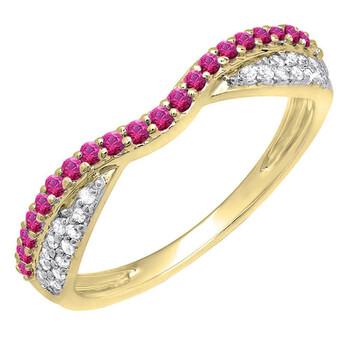 Trang sức Dazzling Rock Dazzlingrock Collection 14K Round Ruby & Kim cương trắng Nữ Wedding Band Stackable Nhẫn
