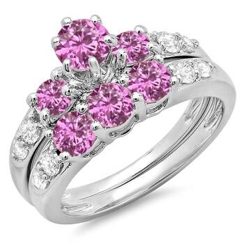 Trang sức Dazzling Rock Dazzlingrock Collection 10K Round Pink Sapphire & Kim cương trắng 3 Stone Bridal Nhẫn đính hôn Set