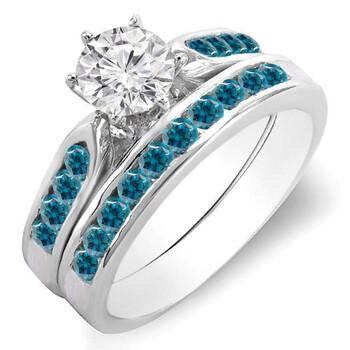 Trang sức Dazzling Rock Dazzlingrock Collection 1.00 Carat (ctw) 14k Round Blue & Kim cương trắng Bridal Nhẫn đính hôn Set 1 CT