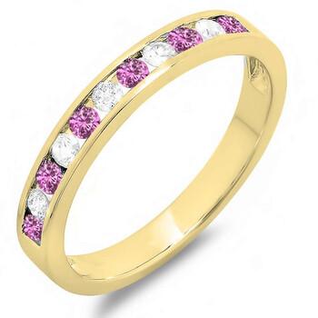 Trang sức Dazzling Rock Dazzlingrock Collection 14K Round Pink Sapphire & Kim cương trắng Nữ Wedding Stackable Nhẫn Band