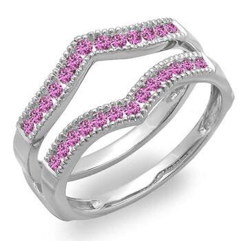 Trang sức Dazzling Rock Dazzlingrock Collection 0.45 Carat (ctw) 14K Round Pink Sapphire Millgrain Wedding Double Nhẫn 1/2 CT
