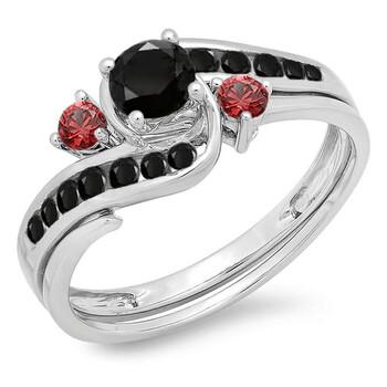 Trang sức Dazzling Rock Dazzlingrock Collection 10K Kim cương đen & Red Ruby Side Stones Nữ Swirl Bridal Nhẫn đính hôn Set
