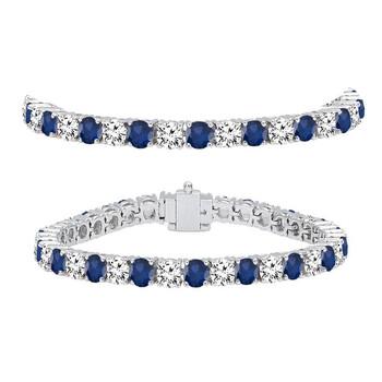 Trang sức Dazzling Rock Dazzlingrock Collection 18K Round Real Blue Sapphire & Kim cương trắng Nữ Tennis Vòng đeo tay