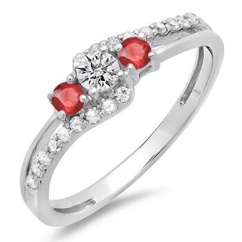 Trang sức Dazzling Rock Dazzlingrock Collection 10K Round Ruby & Kim cương trắng 3 Stone Bridal Engagement Promise Nhẫn