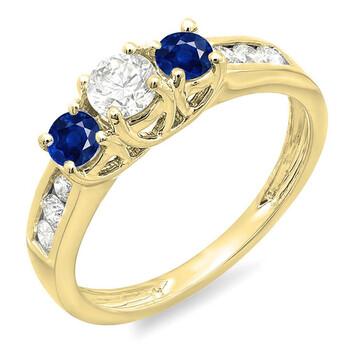 Trang sức Dazzling Rock Dazzlingrock Collection 14K Round Blue Sapphire & Kim cương trắng Nữ 3 Stone Engagement Bridal Nhẫn