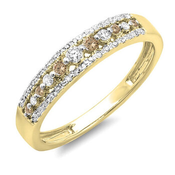Dazzling Rock Dazzlingrock Collection 0.25 Carat (ctw) 14K Round Champagne & Kim cương trắng Wedding Band Nhẫn 1/4 CT, Yellow Gold, Size 8.5