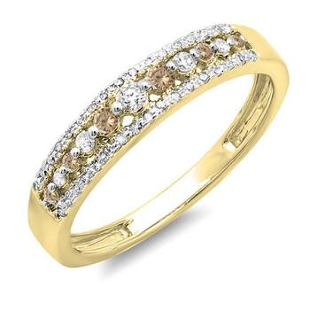 Trang sức Dazzling Rock Dazzlingrock Collection 0.25 Carat (ctw) 14K Round Champagne & Kim cương trắng Wedding Band Nhẫn 1/4 CT, Yellow Gold, Size 8.5 chính hãng sale giảm giá sỉ rẻ nhất ở Hà nội TPHCM