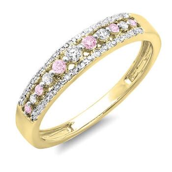 Trang sức Dazzling Rock Dazzlingrock Collection 14K Round Pink Sapphire & Kim cương trắng Nữ Anniversary Wedding Band Nhẫn