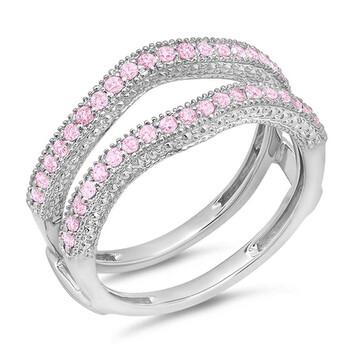 Trang sức Dazzling Rock Dazzlingrock Collection 0.45 Carat (ctw) 14k Pink Sapphire Kim cương Wedding Millgrain Guard Nhẫn 1/2 CT