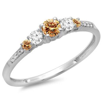 trang sức Dazzling Rock Dazzlingrock Collection 0.40 Carat (ctw) 14K Champagne & Kim cương trắng Bridal 5 Stone Nhẫn đính hôn, Vàng trắng, Size 6 chính hãng sale giá rẻ tại Hà nội TPHCM