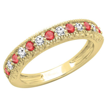 Dazzling Rock Dazzlingrock Collection 10K Round Cut Ruby & Kim cương trắng Nữ Millgrain Wedding Stackable Band, Yellow Gold, Size 8.5