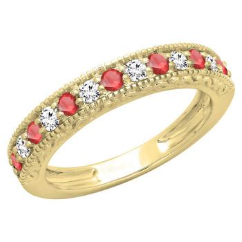 trang sức Dazzling Rock Dazzlingrock Collection 14K Round Ruby & Kim cương trắng Nữ Millgrain Wedding Stackable Band, Yellow Gold, Size 8 chính hãng sale giá rẻ tại Hà nội TPHCM