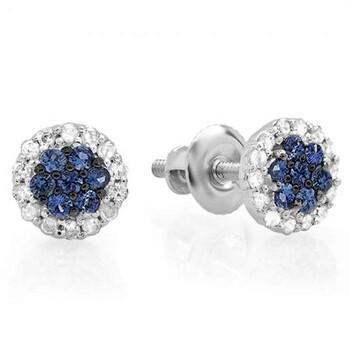 Trang sức Dazzling Rock Dazzlingrock Collection 10K Blue Sapphire & Kim cương trắng Nữ Cluster Flower Stud Bông tai (khuyên tai