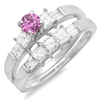 Trang sức Dazzling Rock Dazzlingrock Collection 14K Pink Sapphire và Kim cương trắng Nữ Bridal Nhẫn đính hôn Set