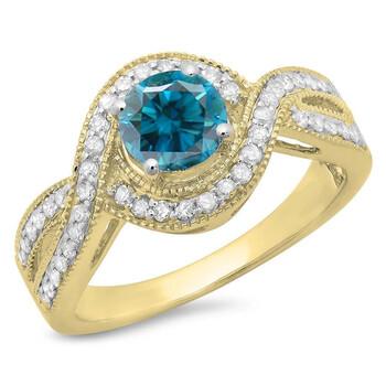 trang sức Dazzling Rock Dazzlingrock Collection 1.15 Carat (ctw) 14K Blue & Kim cương trắng Swirl Split Shank Halo Nhẫn đính hôn, Yellow Gold, Size 5.5 chính hãng sale giá rẻ tại Hà nội TPHCM