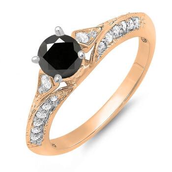 Trang sức Dazzling Rock Dazzlingrock Collection 0.85 Carat (ctw) 10K Round Đen & Trắng Kim cương Nhẫn đính hôn nữ