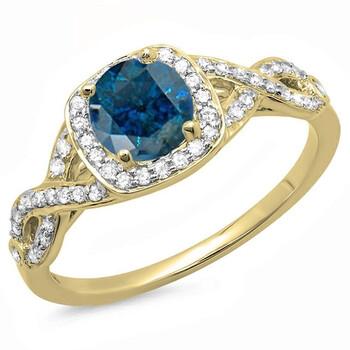 Trang sức Dazzling Rock Dazzlingrock Collection 1.00 Carat (ctw) 14K Blue & Kim cương trắng Swirl Split Shank Halo Nhẫn đính hôn