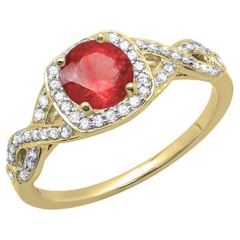 Trang sức Dazzling Rock Dazzlingrock Collection 14K Ruby & Kim cương trắng Swirl Split Shank Halo Nhẫn đính hôn, Yellow Gold, Size 6 chính hãng sale giảm giá sỉ rẻ nhất ở Hà nội TPHCM