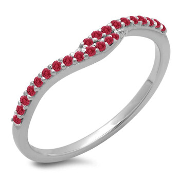 Trang sức Dazzling Rock Dazzlingrock Collection 0.20 Carat (ctw) 14K Round Red Ruby Anniversary Wedding Band Guard Nhẫn 1/5 CT