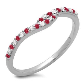 Trang sức Dazzling Rock Dazzlingrock Collection 14K Round Cut Ruby & Kim cương trắng Nữ Anniversary Wedding Band Guard Nhẫn