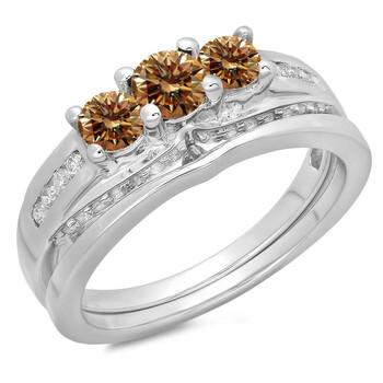 Trang sức Dazzling Rock Dazzlingrock Collection 1.10 Carat (ctw) 14K Round Champagne & Kim cương trắng Bridal 3 Stone Nhẫn Set 1 CT