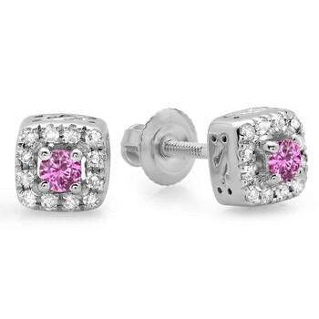 Trang sức Dazzling Rock Dazzlingrock Collection 10K Pink Sapphire & Kim cương trắng Square Frame Halo Stud Bông tai (khuyên tai