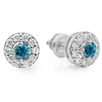 Trang sức Dazzling Rock Dazzlingrock Collection 0.50 Carat (ctw) 14K Real Round Cut Blue & Kim cương trắng Nữ Cluster Stud Bông tai (khuyên tai